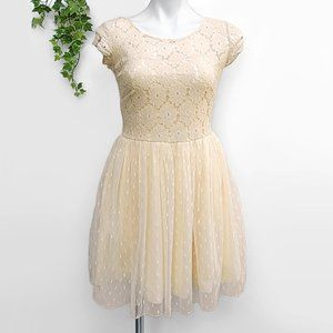 My Michelle Cream Tulle Lace Dress XS-S